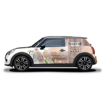 Ad wrapped Mini Cooper