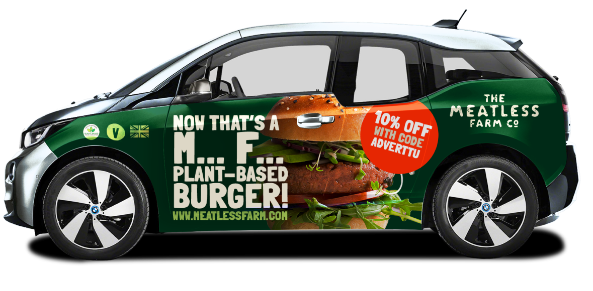 Adverttu Campaign: Meatless Farm, Wrapped BMW i3